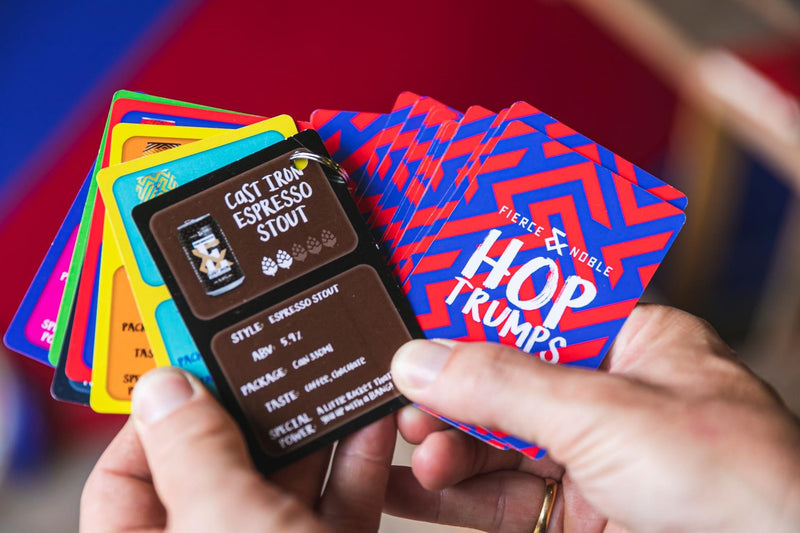 An image of Hop Trumps cards from Fierce & Noble brewery