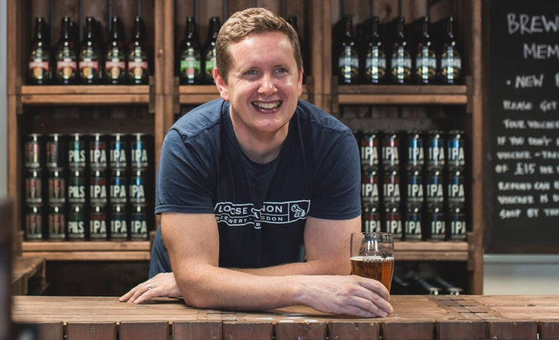 Will Laithwaite in his tap room at Loose Cannon
