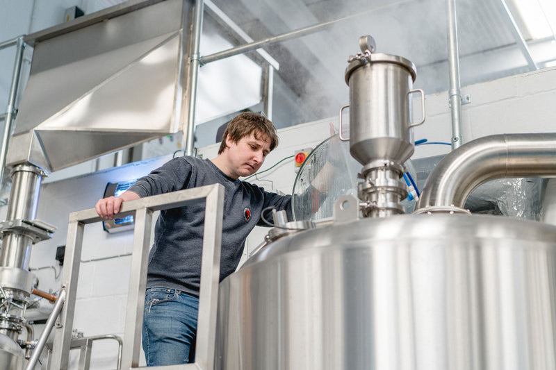 Oliver Fozard brewing beer at Rooster's Brewery