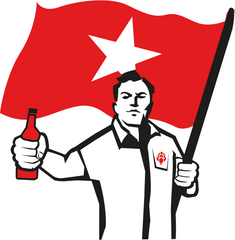 Illustration of man holding red flag with star and a bottle of beer