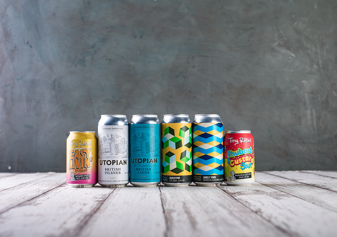 Craft beer can art from Tiny Rebl, Utopian and Howling Hops