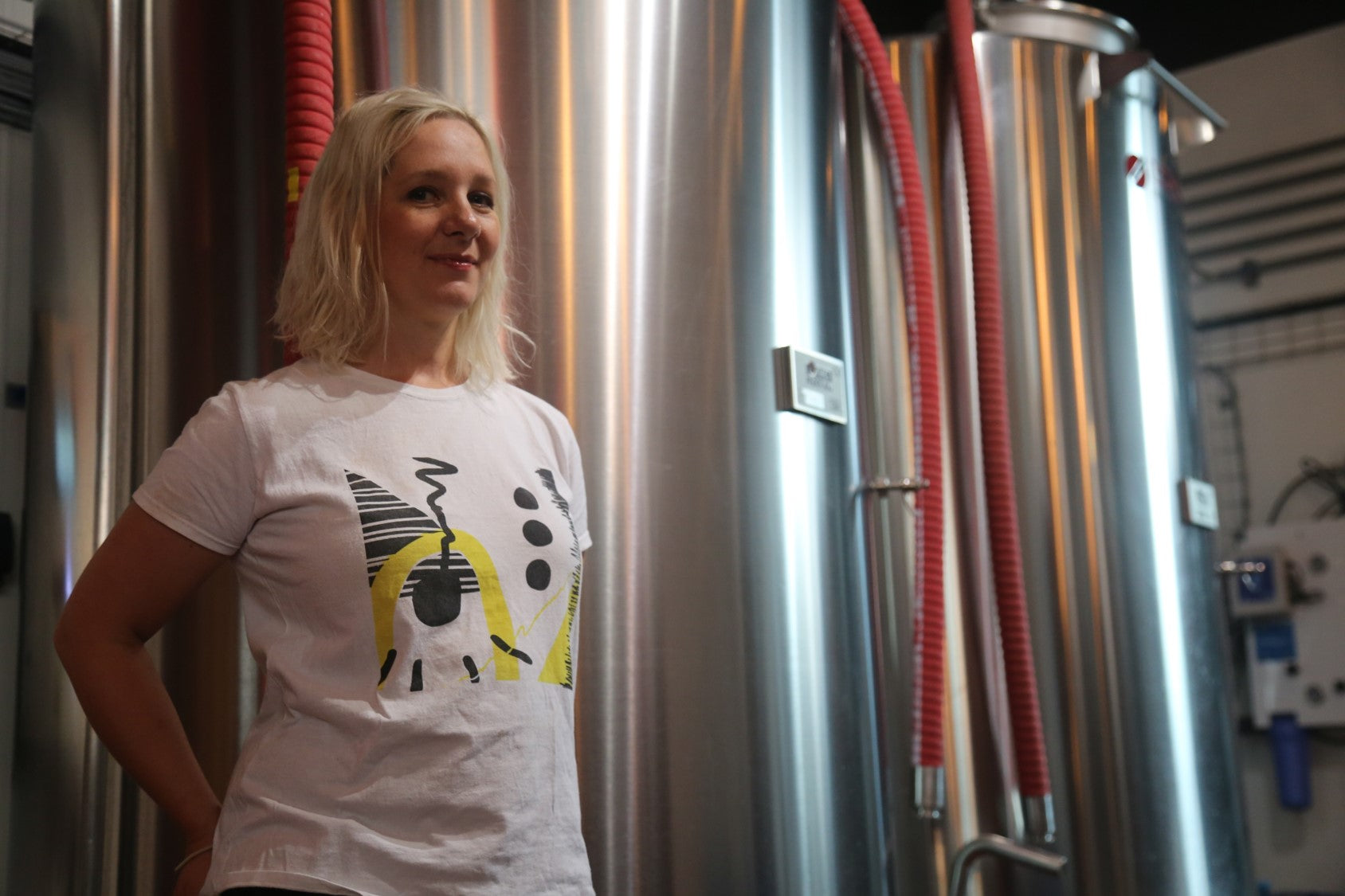 Jane LeBlond brewing beer
