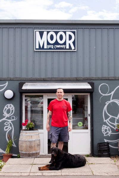 Justin Hawke from Moor Beer Co with his dog