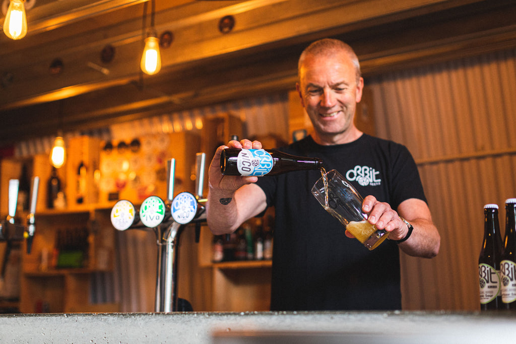 Orbit Beers - Robert Middleton pouring beer