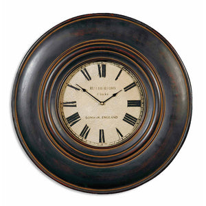 "Uttermost Adonis 24"" Wooden Wall Clock 06724"