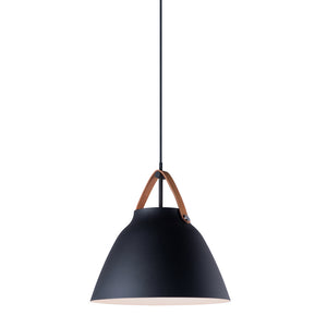 Maxim Lighting 11356TNBK Nordic-Single Pendant in Tan Leather / Black