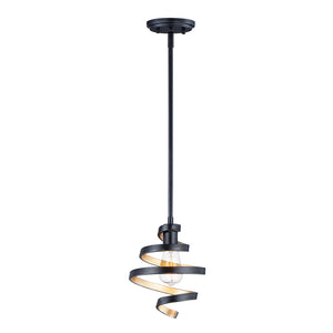 Twister 1 Light Mini Pendant in Black Finish by Maxim Lighting 12232BKGLD