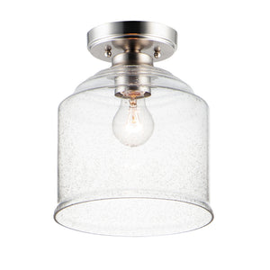 Acadia 1 Light Semi Flush Mount in Satin Nickel Finish by Maxim Lighting 12270CDSN