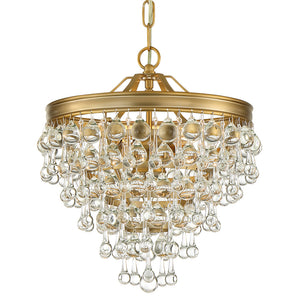 Crystorama 130-VG Calypso 3 Light Vibrant Gold Mini Chandelier
