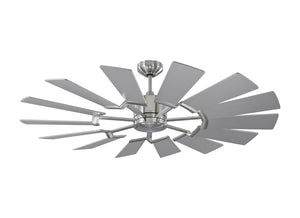 "Prairie II 52"" Brushed Steel Indoor Ceiling Fan by Monte Carlo Fans 14PRR52BSD"