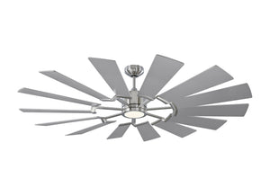"Prairie 62"" Brushed Steel Indoor Ceiling Fan by Monte Carlo Fans 14PRR62BSD"