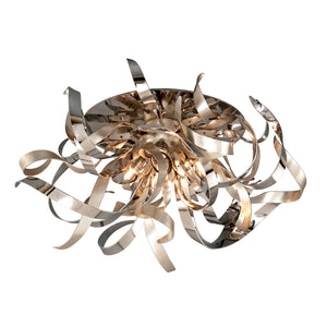 Graffiti 4 Light Semi-Flush By Corbett 154-34 in Silver Leaf Polished Stainless Finish