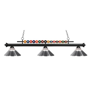 Shark 3 Light Island/Billiard in Matte Black by Z-Lite 170MB-RCH