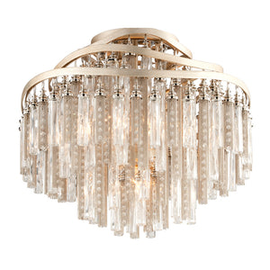 Chimera 4 Light Semi-Flush By Corbett 176-34 in Tranquility Silver Leaf Finish