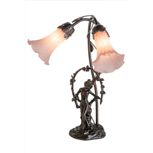 "17""H Trellis Girl Lily Pink 2 LT Accent Lamp by Meyda 17858"