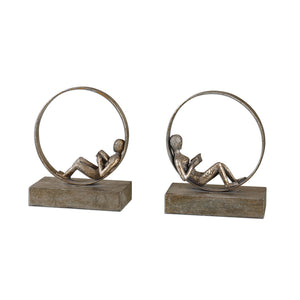 Uttermost Lounging Reader Antique Bookends Set/2 19596