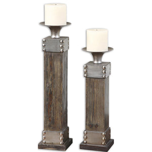 Uttermost Lican Natural Wood Candleholders, Set/2 19668
