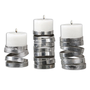 Uttermost Tamaki Silver Candleholders, S/3 19810