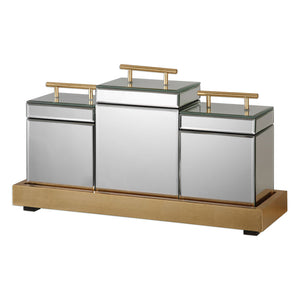 Uttermost Faustina Mirrored Boxes And Tray S/4 20131