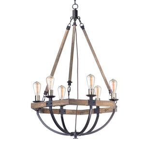 Maxim Lighting 20337WOBZ Lodge-Chandelier in Weathered Oak / Bronze