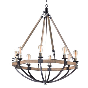 Maxim Lighting 20338WOBZ Lodge-Chandelier in Weathered Oak / Bronze