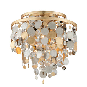Ambrosia 3 Light Flush Mount By Corbett 215-33 in Gold Silver Leaf & Stainless Finish