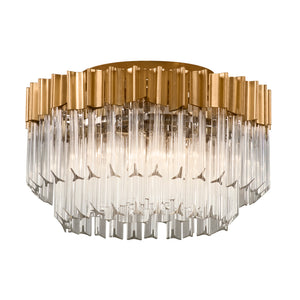 Charisma 3 Light Semi-Flush By Corbett 220-33 in Gold Leaf W Polished Stainless Finish