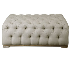 Uttermost Kaniel Tufted Antique White Ottoman 23253