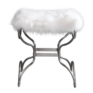 Uttermost Channon White Fur Small Bench 23496