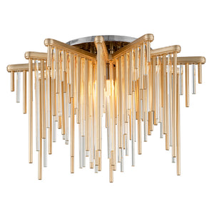 Theory 1 Light LED Semi-Flush By Corbett 238-31 in Gold Leaf W Polished Stainless Finish