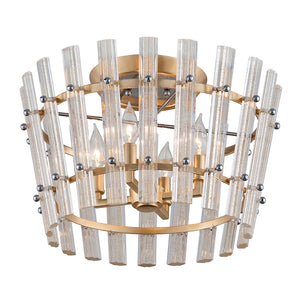 Sauterne 4 Light Semi-Flush By Corbett 239-34 in Gold Leaf W Polished Stainless Finish