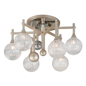 Majorette 6 Light Semi-Flush By Corbett 241-36 in Silver Leaf W Polished Chrome Finish