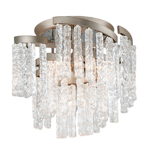 Mont Blanc 5 Light Semi-Flush By Corbett 243-35 in Modern Silver Leaf Finish