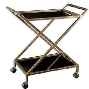 Uttermost Zafina Gold Bar Cart 25013