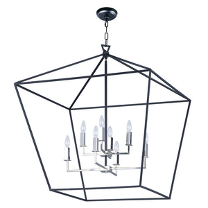 Maxim Lighting 25154TXBPN Abode-Multi-Tier Chandelier in Textured Black / Polished Nickel