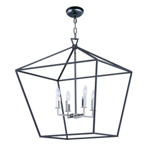 Maxim Lighting 25155TXBPN Abode-Single-Tier Chandelier in Textured Black / Polished Nickel