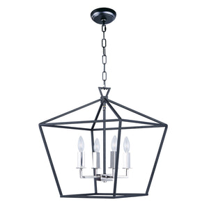 Maxim Lighting 25156TXBPN Abode-Single-Tier Chandelier in Textured Black / Polished Nickel