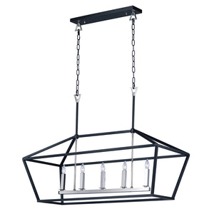 Maxim Lighting 25157TXBPN Abode-Single-Tier Chandelier in Textured Black / Polished Nickel