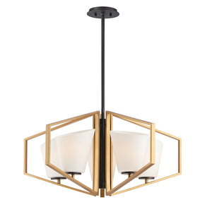 Oblique 5 Light Chandelier in Gold Finish by Maxim Lighting 26355SWGLDBK