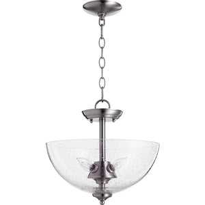 4 Light Dual Mount in Satin Nickel w/ Clear/Seeded Finish 2840-14-65