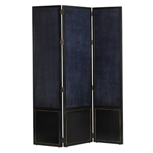 Kallista Screen in Dark Sapphire/Caviar Black/Antique Brass by Currey and Company 3000-0137
