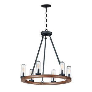 Maxim Lighting 30016CDAPBK Lido-Outdoor Chandelier in Antique Pecan / Black