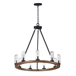 Maxim Lighting 30019CDAPBK Lido-Outdoor Chandelier in Antique Pecan / Black