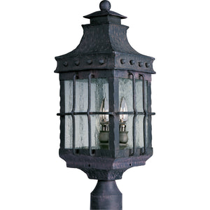 Maxim Lighting 30080CDCF Nantucket 3-Light Outdoor Pole/Post Lantern in Country Forge Finish