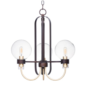 Maxim Lighting 30515CLBZSBR Bauhaus-Mini Chandelier in Bronze / Satin Brass