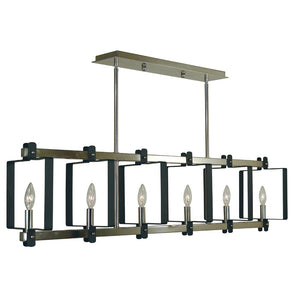 6 Light Polished Nickel/Matte Black Camille Island Chandelier by Framburg F-3060 PN/MBLACK