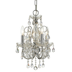 Crystorama 3224-CH-CL-MWP Imperial 4 Light Clear Crystal Chrome Mini Chandelier