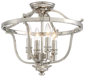 Audrey'S Point 4 Light Semi Flush Mount In Polished Nickel Finish by Minka Lavery 3296-613