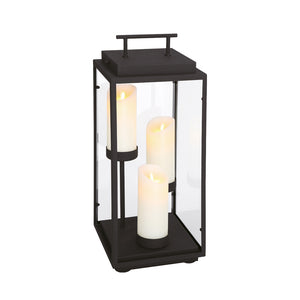 Cathedral 3 Light Outdoor Lantern in Sand Black By Eurofase 35978-015