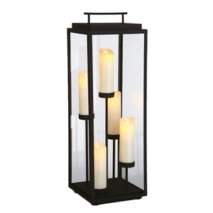Cathedral 5 Light Outdoor Lantern in Sand Black By Eurofase 35980-018